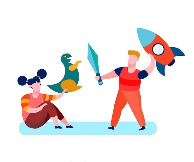 Children, kids playing cartoon vector illustration