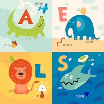 Children learning alphabet with animals illustration concept