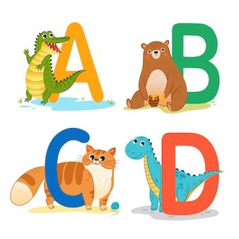 動物のアルファベットを学ぶ子供たち
