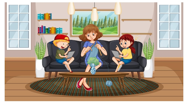 Children learning from home on electronic device