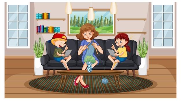 Дети учатся дома на электронном устройстве