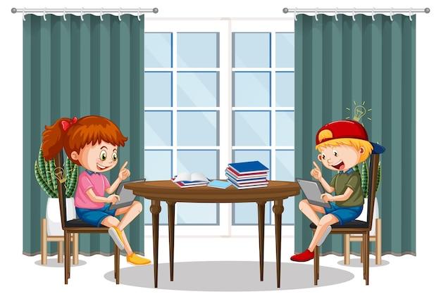 電子機器で家から学ぶ子供たち