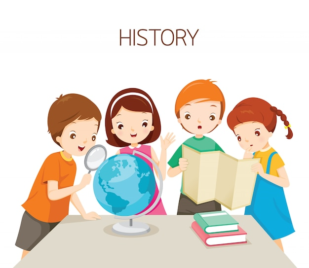 歴史クラスで学ぶ子供たち、学校に戻る学生