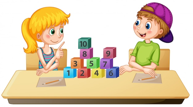 Children learning math number
