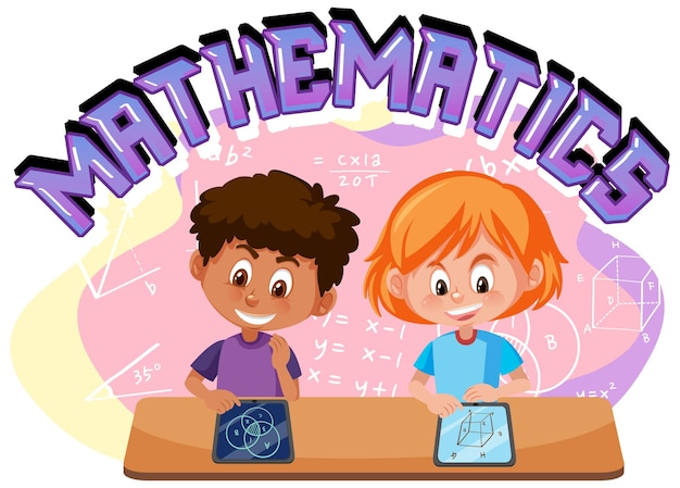 Children learning math with math symbol and icon