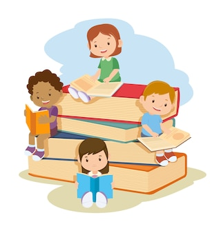 Children learning and reading books together