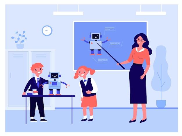 Children learning robotics in classroom. flat vector illustration. teacher pointing to blackboard, kids studying robot standing on school desk. robotics, school, modern technology, science concept