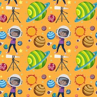 Children learning solar system seamless background