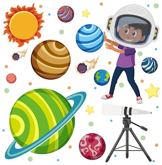 Children learning solar system