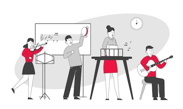 Children on lesson in music school teacher