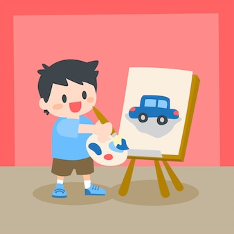 Children, little boy painting on canvas, drawing class