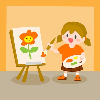 Children, little girl painting on canvas, drawing class