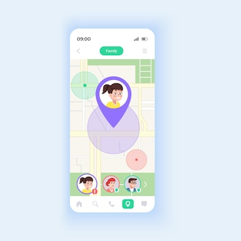 Children locator smartphone interface vector template. mobile app page design layout. useful feature for parents. kids finding. modern smartphone screen. flat ui for application. phone display
