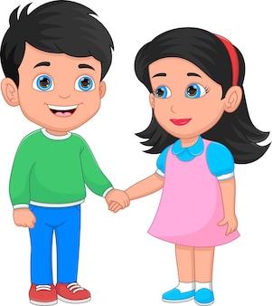 Children in love holding hands on white background