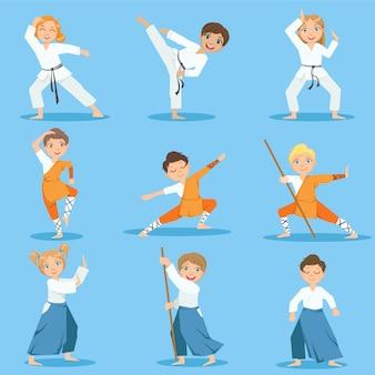 Children on martial arts practice