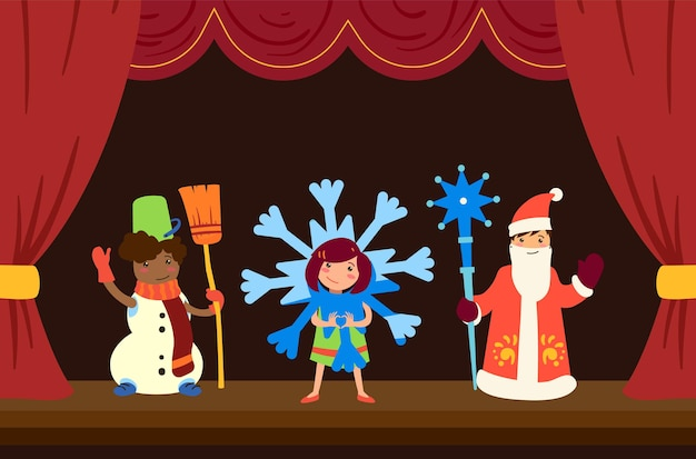 Children on a matinee at school in costumes on stage russian culture school theater snowman