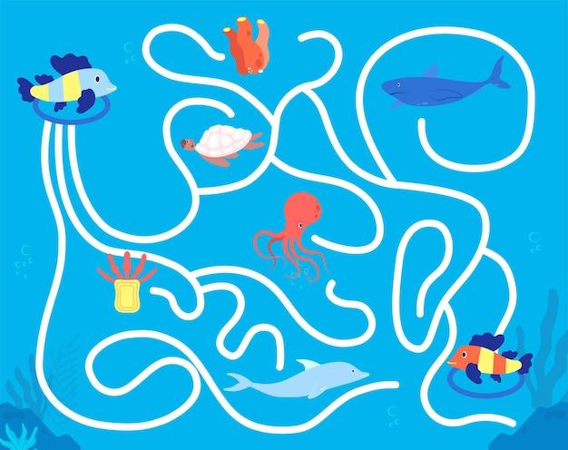 어린이 미로 게임. 유치원 레저, 재미있는 다채로운 동물 미로. 아이들은 솔루션 플레이, 바다 생활 퍼즐 지도 벡터 삽화를 찾습니다. 유치원 게임, 수중 동물과 유치원 놀이