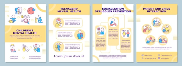 Children mental health brochure template. child socialization. flyer, booklet, leaflet print, cover design with linear icons. vector layouts for presentation, annual reports, advertisement pages