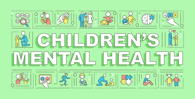 어린이 정신 건강 단어 개념 배너입니다. 감정 발달. 녹색 배경에 선형 아이콘으로 인포 그래픽입니다. 고립 된 창조적 인 인쇄술. 텍스트와 벡터 개요 컬러 일러스트
