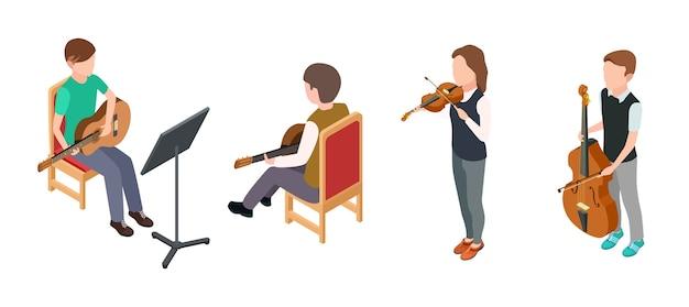 子供のミュージシャン。バイオリンギターのチェロと等角投影文字。白い背景で隔離のベクトル子供オーケストラ