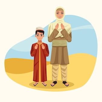 Children muslim couple characters