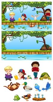 Children in the nature element