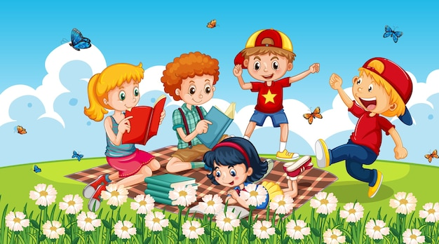 Children at in nature