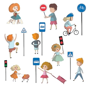 Children near various road signs and traffic lights.  illustration on white background.