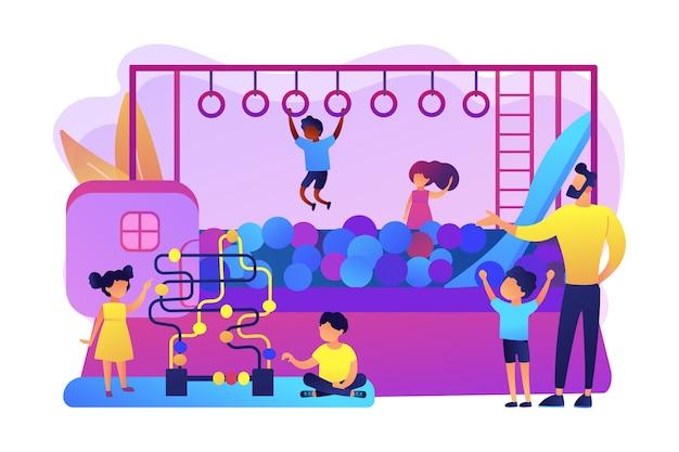 어린이 보육, 탁아소. 적극적인 유년기 레크리에이션. 아이들을위한 놀이방, 최고의 실내 놀이터, 모두 하나의 실내 활동 개념입니다. 밝고 활기찬 보라색 고립 된 그림