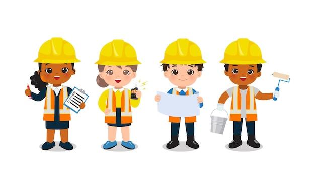 Children occupation clip art team of engineer and builder flat vector character cartoon design