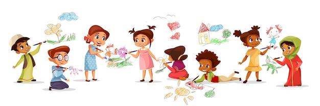분필 연필 일러스트와 함께 그림을 그리는 다른 국적의 아이들