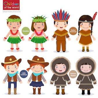 世界の子供たち-米国-ハワイアン-ネイティブアメリカン-カウボーイズ-エスキモー