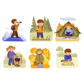하이킹에 아이 들. 여행, 모험을 주제로 한 벡터 삽화 세트입니다. 평면 스타일 개념입니다.