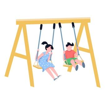 チェーンの子供たちは色のない顔のないキャラクターをスイングします。野外で遊ぶ幸せな子供、兄と妹の遊び場分離漫画イラストwebグラフィックとアニメーション
