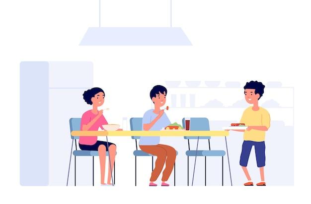 점심에 아이들. 학교 아이들 식사, 카페테리아 룸 테이블. 매점에 있는 평평한 학생들은 새로운 친구를 만나고 식사 시간 벡터 삽화를 만납니다. 매점 학교 아침 식사에서 어린이 저녁 식사