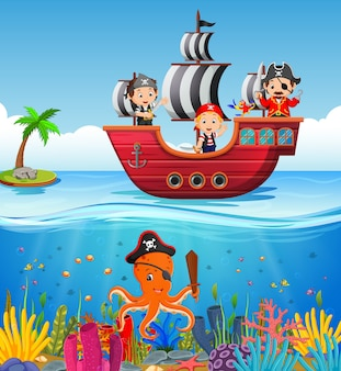 海賊船と海洋の子供たち
