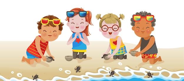 海で自由を手渡すビーチの男の子と女の子の子供たち