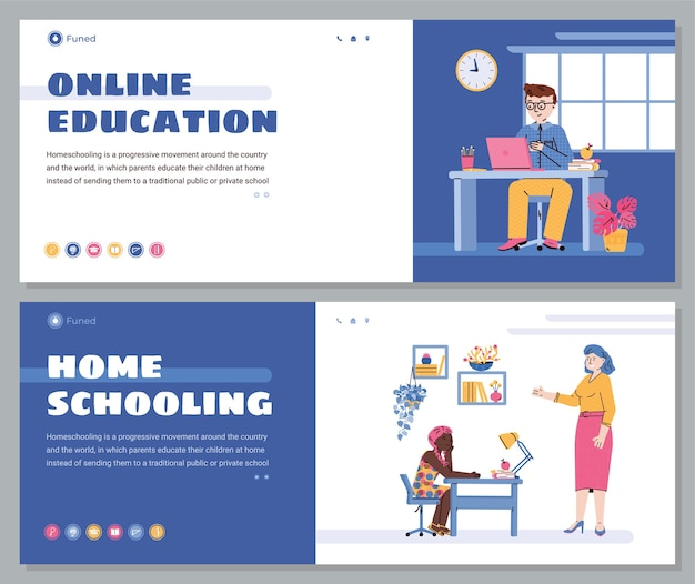 Children online education and homeschooling web banners set with cartoon kids using computer