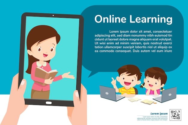 Children online learning at home banner
