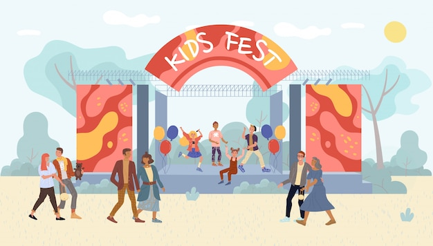 Children open air live performance in park on fest