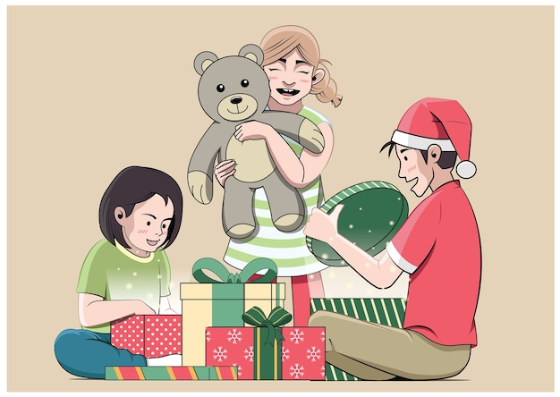 Children opening present boxes happily illustration