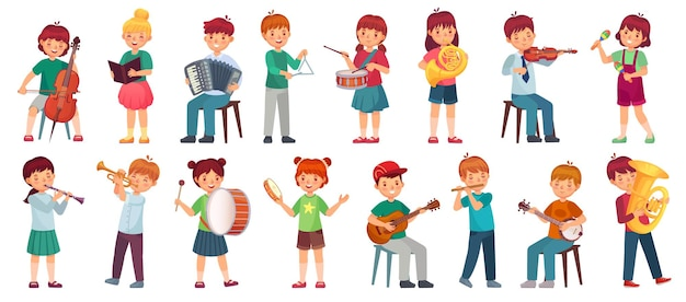 Children orchestra play music. child playing ukulele guitar, girl sing song and play drum. kids musicians with music instruments illustration set.