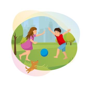 Children outdoor fun cartoon vector banner