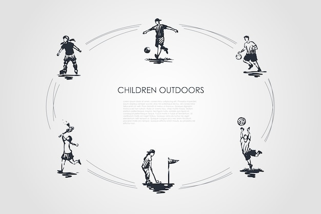 Дети на открытом воздухе концепции набора иллюстрации