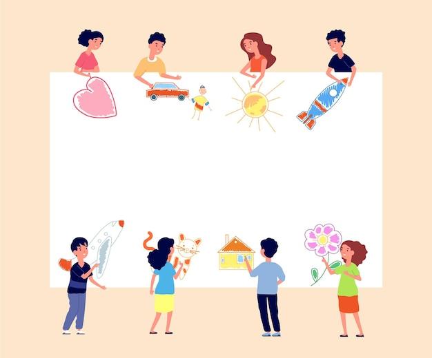 バナーを描く子供たち。壁に描く子供たち。クリエイティブな幼稚園、幼児がポスターをペイントします。子供の写真と紙