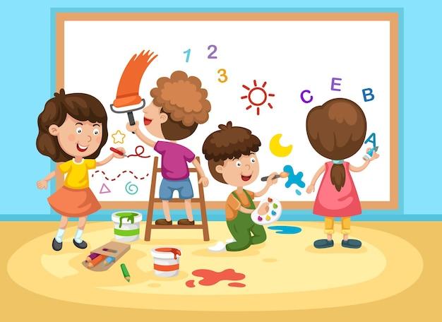 ホワイトボードを描く子供たち