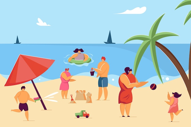 Children and parents having fun on beach. child making sand castle, kid swimming in water flat vector illustration. summer, childhood, vacation concept for banner, website design or landing web page