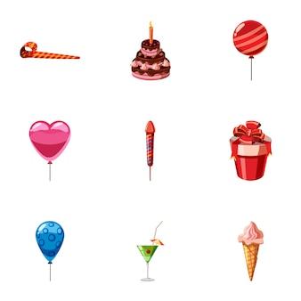 Набор иконок детский праздник, мультяшном стиле