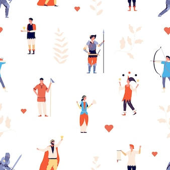子供のパターン。王室の中世のキャラクターの壁。本の物語、おとぎ話の王女、王と騎士のプリント。劇場映画のヒーローはシームレスなテクスチャです。王女と王様のパターンイラスト