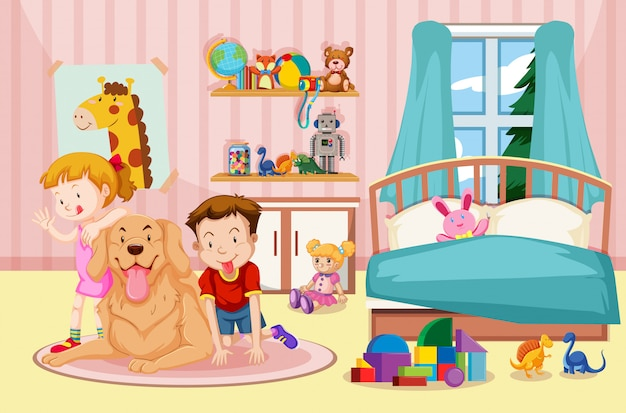 Children and pet dog in bedroom